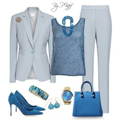 A fashion look from June 2014 featuring blue jackets, zipper pants and Dagmar. Browse and shop related looks. Office Attire, Office Outfits, Work Attire, Church Outfits, Church Clothes, Business Dresses, Business Outfits, Classic Outfits, White Outfits
