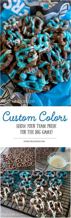 Show your team spirit with customized chocolate covered pretzels for game day! These quick dessert recipe only takes a few minutes of prep and are perfectly portable to bring to your party!