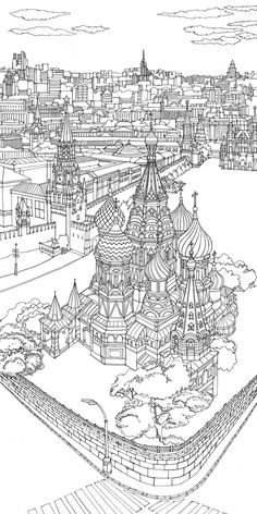 Illustrated aerial cityscapes of Moscow and Geneva for the Vacheron Constantin boutique in Moscow. Free Printable Coloring Pages, Coloring Book Pages, Free Adult Coloring, City Sketch, Thinking Day, Colouring Techniques, Colorful Drawings, Line Drawing, Doodles