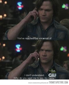 """The fact that they even give him a cell phone..."" I love Sam's face in the second picture."