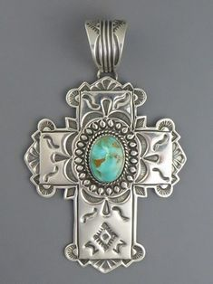 Handmade Sterling Silver Royston Turquoise Cross by Happy Piaso, Navajo -