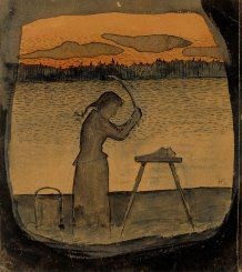 Hugo Simberg: 'Doing the Laundry', 1895 Tapestry Weaving, Art Object, Amazon Art, Helsinki, Macabre, Finland, Art Reference, Scandinavian, Fine Art