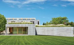 Water Mill Residence by Andrew Berman Architect This is an awesome residence.but there's only ONE BATHROOM if the drawings in the slide show are accurate. Solar Collector, House Of The Rising Sun, Living Roofs, Water Mill, Traditional House, Interior Architecture, Wild Flowers, Construction, Exterior