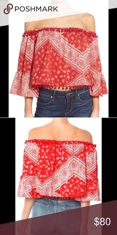 fdebb97814c8 Tularosa alexa top red bandana print Brand new with tags off shoulder alexa  top Tularosa Tops Blouses