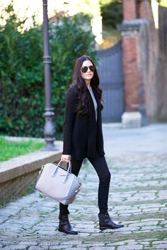 Sweater: Vince via Last Call  |  Booties: Ash Punky via Last Call  |  Sweater: J.Crew (similar style here and here)  |  Pants: Citizens (similar style here) |  Bag: Givenchy  |  Sunglasses: Ray-Ban (love this similar style)  |  Lips: Boldly Bare and Cream Cup by MAC