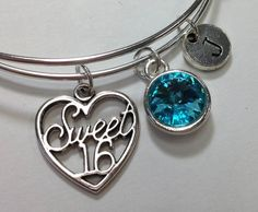 Sweet 16 Initial Birthstone Bangle Personlized