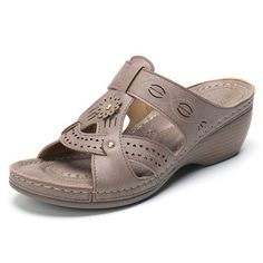 Lostisy Flower Slip On Comfy Casual Summer Wedge Beach Sandals - Banggood Mobile Girls Sandals, Sport Sandals, Wedge Sandals, Wedge Shoes, Beach Sandals, Women Sandals, Shoes Women, Strappy Sandals, Summer Wedges