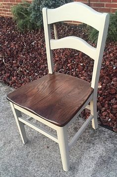 Vintage dining chairs. They are old Sunday School chairs that came out of a local church. They were really rough, we have painted and
