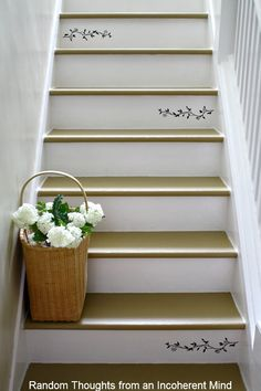 Painted staircase ideas pattern projects inspiration like books banisters blue wood victorian yellow home front doors awesome style ceilings posts and hardwood stairs for your home decoration. Stenciled Stairs, Painted Stairs, Painted Floors, Basement Steps, Painted Staircases, Spiral Staircases, Stair Well, Hardwood Stairs, Dark Hardwood