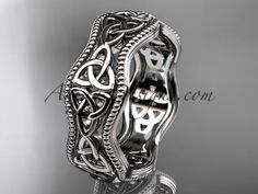 So cute white gold celtic trinity knot engagement ring, wedding band Celtic Wedding Rings, Custom Wedding Rings, Celtic Rings, White Gold Wedding Bands, White Gold Rings, Irish Rings, Blue Wedding, Celtic Spiral, Celtic Trinity Knot