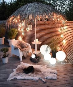 Inspired spaces & Outdoors & Outdoor life & Tiki Umbrella & Wooden deck The post Inspired spaces appeared first on Dekoration. Outdoor Life, Outdoor Rooms, Outdoor Decor, Outdoor Privacy, Outdoor Seating, Backyard Lighting, Outdoor Lighting, Lighting Ideas, Pathway Lighting