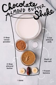 Splendid Smoothie Recipes for a Healthy and Delicious Meal Ideas. Amazing Smoothie Recipes for a Healthy and Delicious Meal Ideas. Easy Smoothie Recipes, Easy Smoothies, Smoothie Drinks, Smoothies With Dates, Protein Smoothies, Shake Recipes, Smoothie Diet, Cacao Smoothie, Chocolate Smoothie Recipes