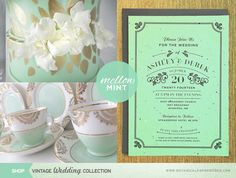 Lovely Vintage Seed Paper Invitation printed on mint green paper paired with gold accents and antique tea cups. Mint Wedding Themes, Wedding Trends, Gold Wedding, Summer Wedding, Wedding Decorations, Wedding Ideas, Dream Wedding, Wedding Goals, Wedding Planning