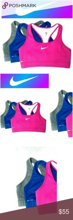 . 3 NIKE DRI FIT RACER BACK TOPS  NWOT BUNDLE OF THREE NIKE DRI FIT SPORTS BRA TOPS *.  PINK *.  BLUE *.  GRAY NOT PADDED, RACER BACK ALL SIZE MEDIUM Nike Tops Muscle Tees