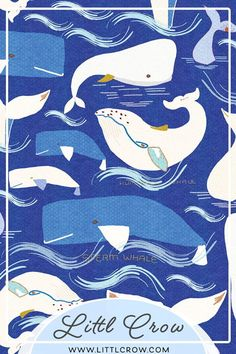 A surface pattern design filled with illustrated blue and white whales swimming in the wide blue ocean. #surfacedesign #patterndesign #textiledesign #surfacepatterndesign #pattern #surfacepattern #illustration #printandpattern #patterndesigner #fabricdesign #patternlove