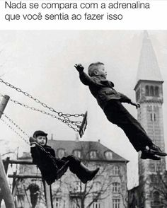 Childhood Memories - jumping off the swing - nostalgia Playground Swings, Romain Gary, My Childhood Memories, Childhood Games, The Good Old Days, Back In The Day, Belle Photo, Black And White Photography, Old Photos