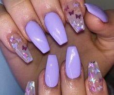 Natural Nail Designs, Purple Nail Designs, Acrylic Nail Designs, Short Nail Designs, Nail Art Designs, Acrylic Nails Coffin Pink, Short Square Acrylic Nails, Yellow Nails, Purple Nails