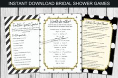 Bridal Shower Games Printable, Wedding Shower Games | by Pretty Printables Ink on Etsy. This bridal shower games bundle has everything you need for some fun bridal shower activities! Simply print as many as you need for an in-person shower or share electronically for virtual bridal shower games! #bridalshowergames #bridalshowerideas #bridalshoweractivities #virtualbridashower