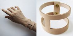 Hand cut leather cuff. $42.00, via Etsy.