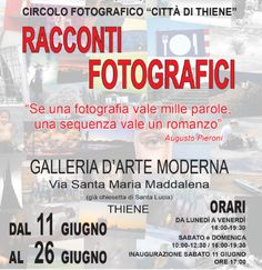 2016 - Thiene by Night - Photo exhibit; June 11-26, in Thiene, Via Santa Maria Maddalena; Mondays-Fridays, 4-7:30 p.m.; Saturdays-Sundays, 10 a.m.-noon and 4-7:30 p.m.; photos by14 photographers taken during a single 60 minute night reportage in Thiene; free entrance.