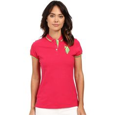 U.S. POLO ASSN. Solid Pique Polo Shirt (Jazzy) Women's Short Sleeve... ($17) ❤ liked on Polyvore featuring tops, red, polo tops, stretch top, polo shirts, red short sleeve top and red knit top