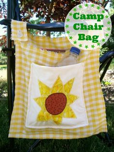 Camp Chair Tote Bag tutorial Quilt Block Pick Up} - Camping Chair - Ideas of Camping Chair - Your camp chair need more storage? How about sewing your own with this tote bag tutorial. Great for all your camping supplies. Camping Bedarf, Camping Chairs, Camping Ideas, Camping Games, Camping Tools, Camping Checklist, Camping Lunches, Camping Essentials, Couples Camping
