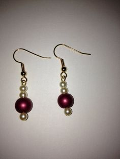 Burgundy Matte Glass Pearl with Cream Glass Pearl by BikeronCrafts, £3.00