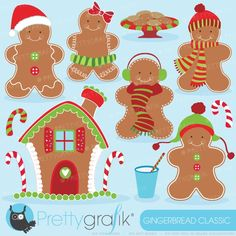 Gingerbread man clipart | Gingerbread man and his Candy house clipart perfect for your christmas cards, decorations, scrapbooking projects, gift tags and more.