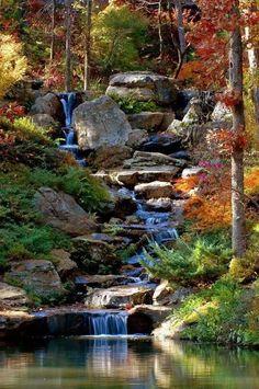 Backyard Water Feature, Ponds Backyard, Backyard Landscaping, Landscaping Ideas, Backyard Waterfalls, Backyard Stream, Garden Stream, Garden Ponds, Backyard Ideas