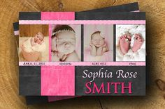 Baby GIRL ANNOUNCEMENT Baby Greeting Gray Pink Photo Custom 5x7 4x6 on Etsy, $15.99