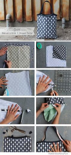 Sew a tote bag with leather ha