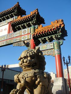 CHINATOWN GATE -- PORTLAND, NW 4th Ave.  Burnside St. -- Pretty to see the gate, but not a lot else going on.
