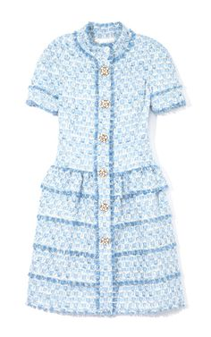 Aquamarine Dress With Full Tiered Skirt by Oscar de la Renta Now Available on Moda Operandi Pretty Outfits, Beautiful Outfits, Aquamarine Dress, Chanel Dress, Royal Clothing, Tweed Dress, Fashion 2020, Dress To Impress, Winter Fashion