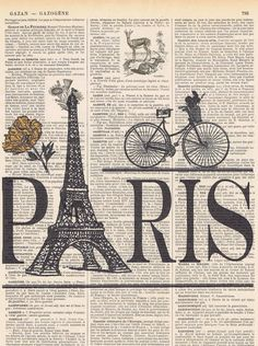 ParisBicycle.Eiffel Tower.Antique French