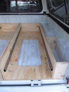 Truck Bed Drawers, Truck Bed Storage, Van Storage, Truck Bed Slide, Truck Bed Camping, Minivan Camping, Van Conversion Plans, Camper Van Conversion Diy, Pickup Camper