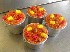 www.sweetelizabethcakes.com  #mini crawfish pots #cajun crawfish boil #desserts #cup cake #Southern Louisiana   Sweet Elizabeth Cake Designs