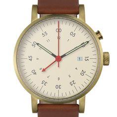 VOID V03 Alarm (gold/light brown) watch by VOID. Available at Dezeen Watch Store: www.dezeenwatchstore.com