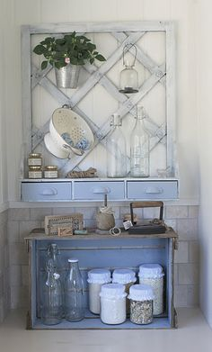 so shabby chic so smart. Colorful and clever way to hang useful items. ;-)