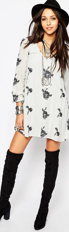 Free People Smock Dress In Long Sleeve with Floral Applique