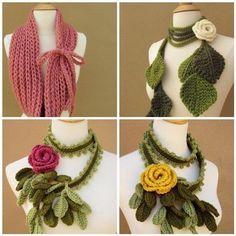 Bufandas tejidas flores