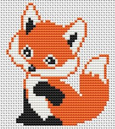 best ideas for embroidery designs baby shirts Cross Stitch Alphabet, Cross Stitch Animals, Cross Stitch Charts, Cross Stitch Designs, Cross Stitch Patterns, Cross Stitch Embroidery, Embroidery Patterns, Hand Embroidery, Fox Pattern