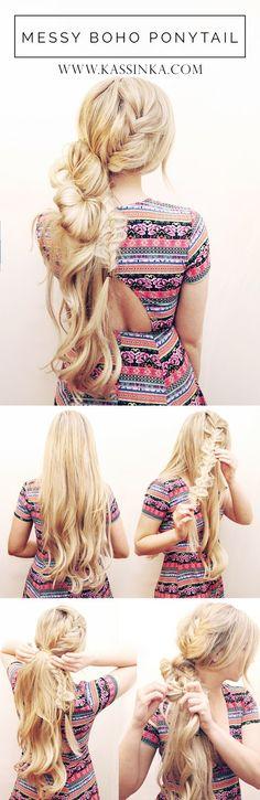 Messy boho ponytail. Here's a detailed tutorial http://www.kassinka.com/boho-top-knot/