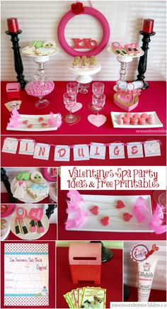 Spa-Themed Valentine's Day Party with FREE party printables! www.momsandmunchkins.ca #Valentine