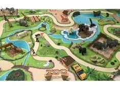 Tierpark / Zoo Spielmatte / Spielteppich. Prima geeignet für Schleich, Papo, Bullyland, Playmobil, Lego etc.