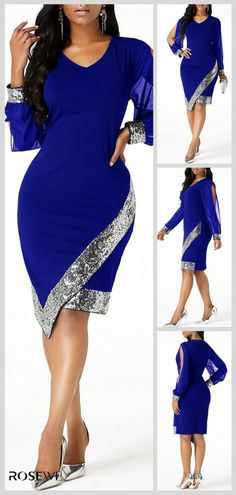 Cutout Sleeve Sequin Panel Asymmetric Hem Sheath Dress – Diet and Slimming Classy Casual, Classy Dress, Classy Outfits, African Dresses For Women, African Fashion Dresses, Mode Outfits, Fashion Outfits, Womens Fashion, African Traditional Dresses