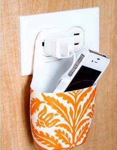 Wall pocket for your phone while it charges