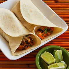Sweet potato and black bean burritos.
