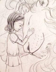 Lucy and Aslan sketch | jessica linn evans