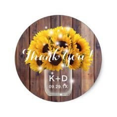 Sunflower Mason Jar Rustic Barn Wedding Thank You Classic Round Sticker - thank you gifts ideas diy thankyou