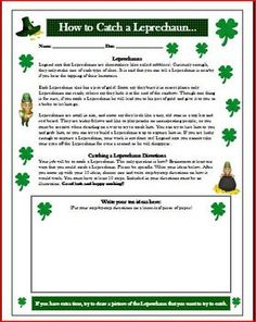 St. Patrick's Day Writing Idea (how to catch a Leprechaun) FREE